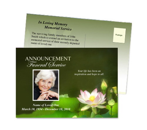 Lotus Postcard Funeral Announcement Template