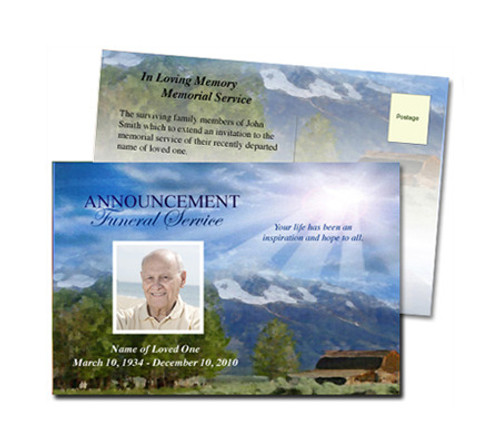 Outdoor Funeral Announcement Postcard Template
