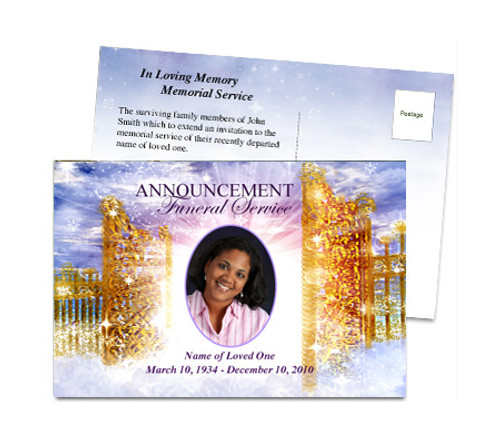 Pathway Funeral Announcement Postcard Template