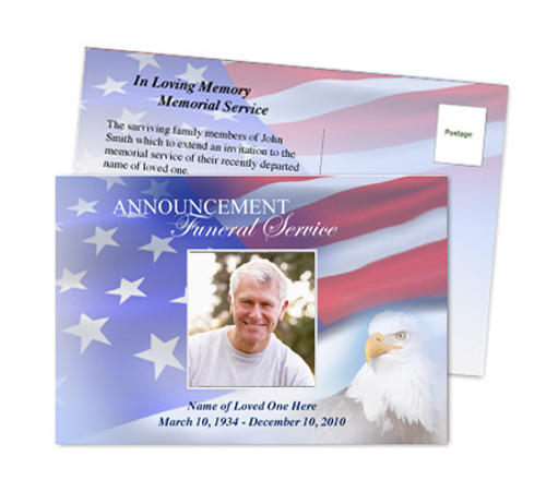 Patriot Funeral Announcement Postcard Template