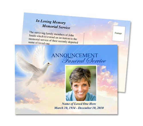 Peace Funeral Announcement Postcard Template