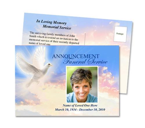 Peace Funeral Announcement Postcard Template