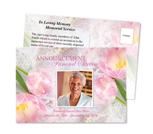 Pearls Funeral Announcement Postcard Template