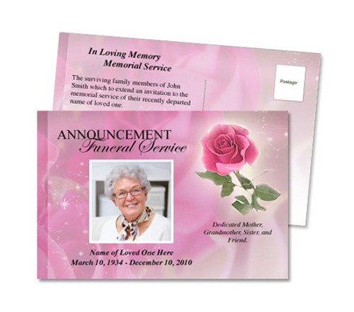 Petals Funeral Announcement Postcard Template