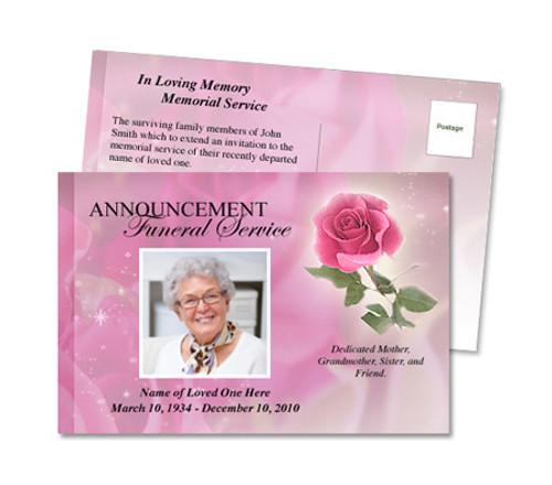 Petals Funeral Announcement Postcard Template
