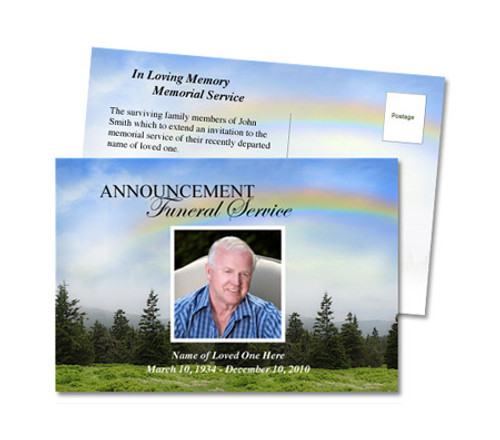 Promise Funeral Announcement Postcard Template