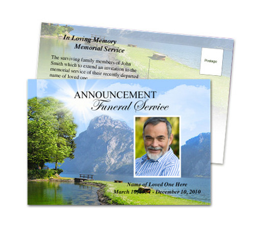 Reflection DIY Postcard Funeral Announcement Template