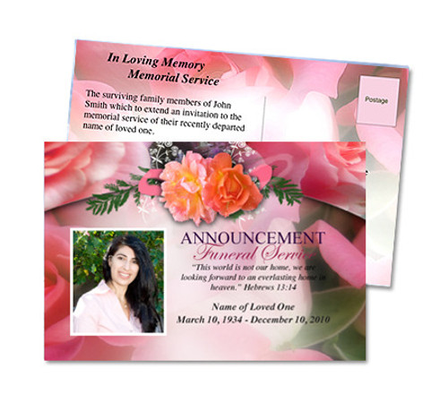 Rosy Funeral Announcement Postcard