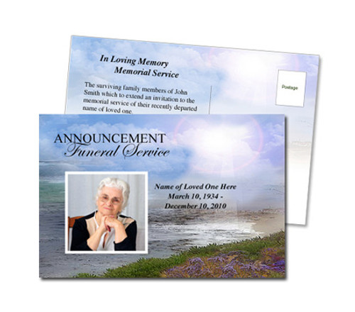 Seascape Funeral Announcement Postcard