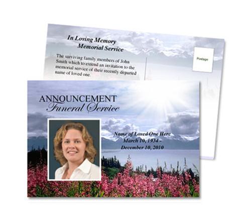 Seasons Funeral Announcement Postcard