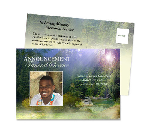 Serenity Funeral Announcement Postcard Template