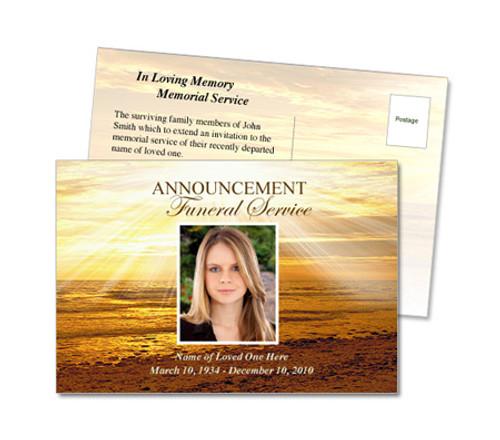Shine Funeral Announcement Postcard Template