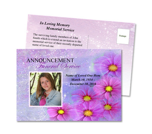 Sparkle Funeral Announcement Template