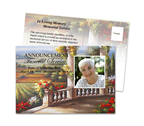 Tuscany Funeral Announcement Template