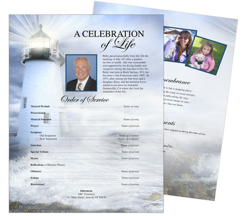 Lighthouse Funeral Flyer Sheets Template