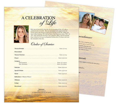 Shine Funeral Flyer Sheets Template