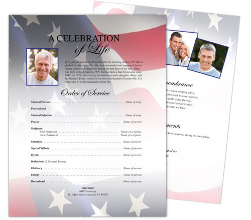 US Flag Funeral Flyer Template