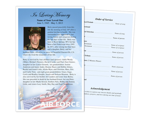 Air Force Half Sheet Funeral Flyer Template