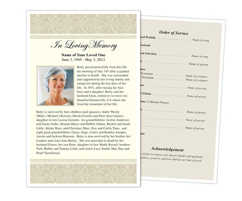 Alexa Half Sheet Funeral Flyer Template