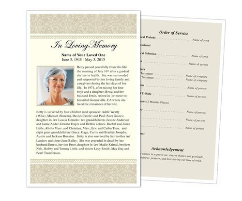 Alexa Half Sheet Funeral Flyer Template