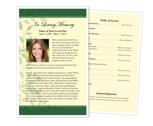 Ambience Half Sheet Funeral Flyer Template