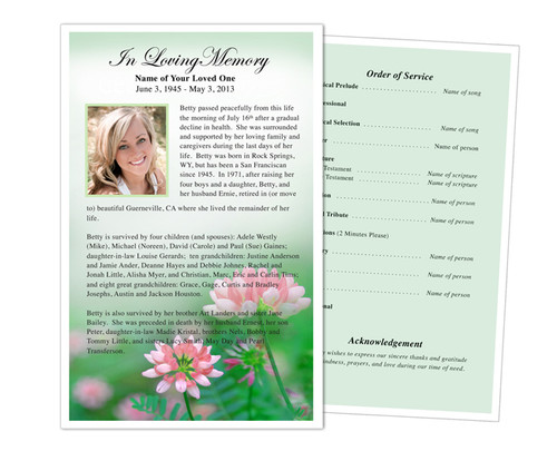 Ambrosia Half Sheet Funeral Flyer Template