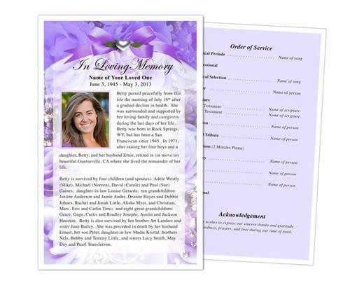 Amethyst Half Sheet Funeral Flyer Template