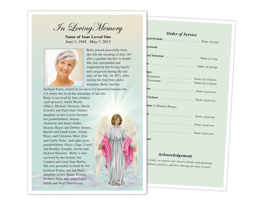 Angelina Half Sheet Funeral Flyer Template
