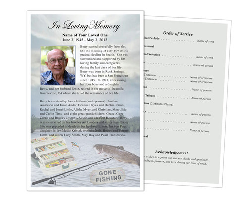 Angler Half Sheet Funeral Flyer Template