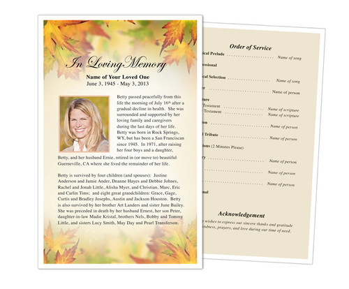 Autumn Half Sheet Funeral Flyer Template
