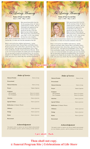 Autumn Half Sheet Funeral Flyer Template inside view