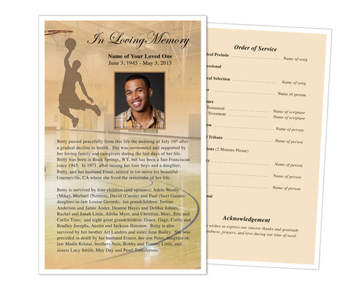 Basketball Funeral Flyer Half Sheets Template