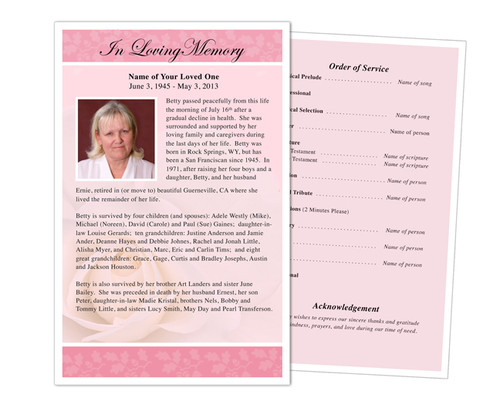 Bella Funeral Flyer Half Sheets Template