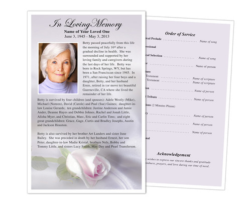 Beloved Funeral Flyer Half Sheets Template