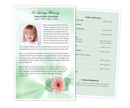 Blossom Funeral Flyer Half Sheets Template