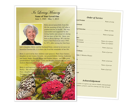 Bouquet Funeral Flyer Half Sheets Template