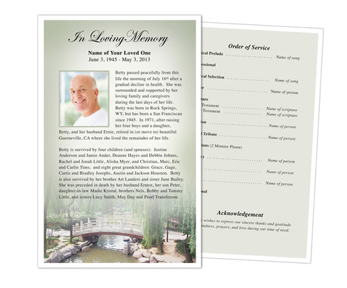 Bridge Funeral Flyer Half Sheets Template
