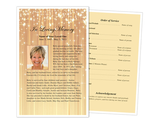 Brilliance Funeral Flyer Half Sheets Template