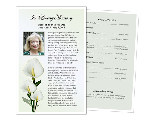 Calle Funeral Flyer Half Sheets Template
