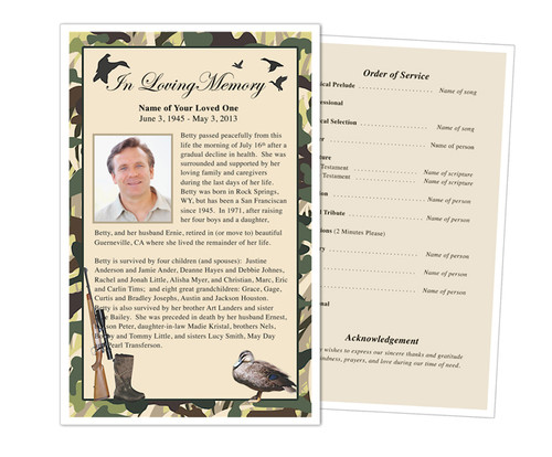 Camoflauge Funeral Flyer Half Sheets Template