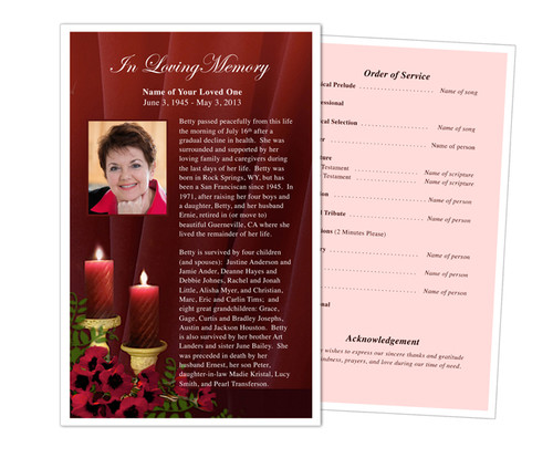Candlelight Funeral Flyer Half Sheets Template