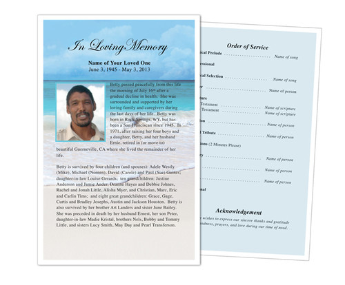 Caribbean Funeral Flyer Half Sheets Template