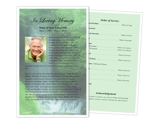 Cascade Funeral Flyer Half Sheets Template