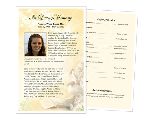 Cherub Funeral Flyer Half Sheets Template