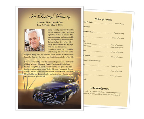 Classic Car Funeral Flyer Half Sheets Template