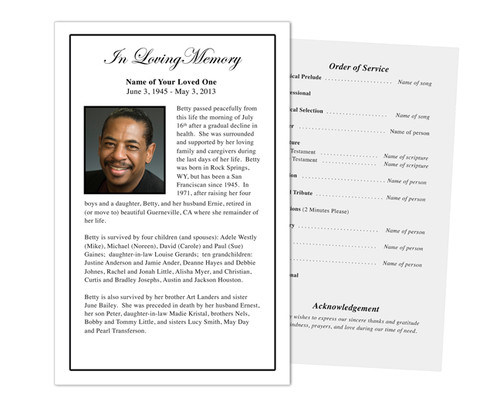Classic Funeral Flyer Half Sheets Template