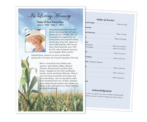 Cornfield Funeral Flyer Half Sheets Template