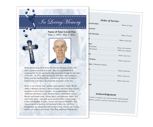 Crucifix Funeral Flyer Half Sheets Template