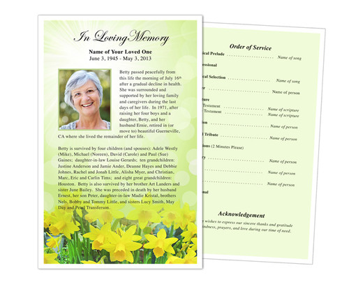 Daffodils Funeral Flyer Half Sheets Template