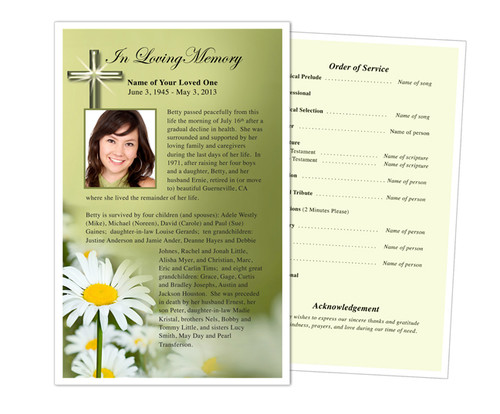 Daisy Funeral Flyer Half Sheets Template
